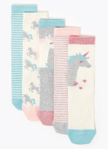 Marks & Spencer 5'li Unicorn Desenli Çorap Seti Pembe